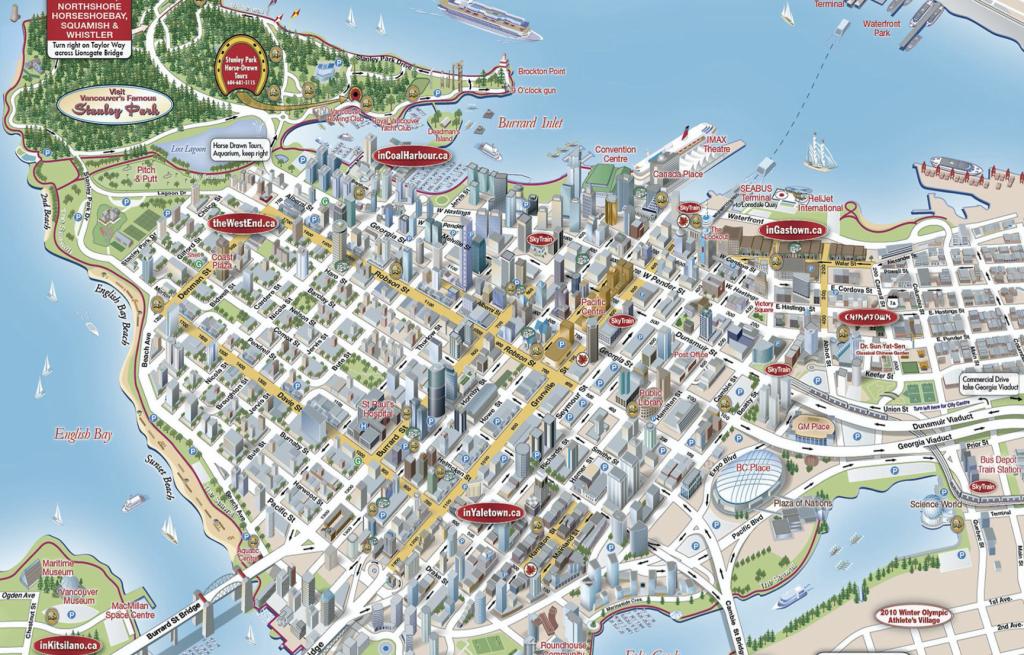 バンクーバーダウンタウン鳥瞰図