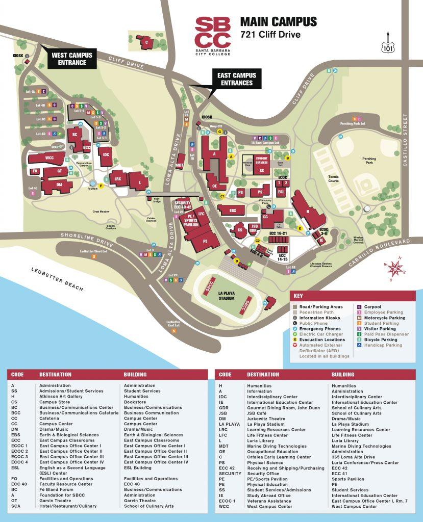 サンタバーバラシティカレッジメインキャンパスマップ
