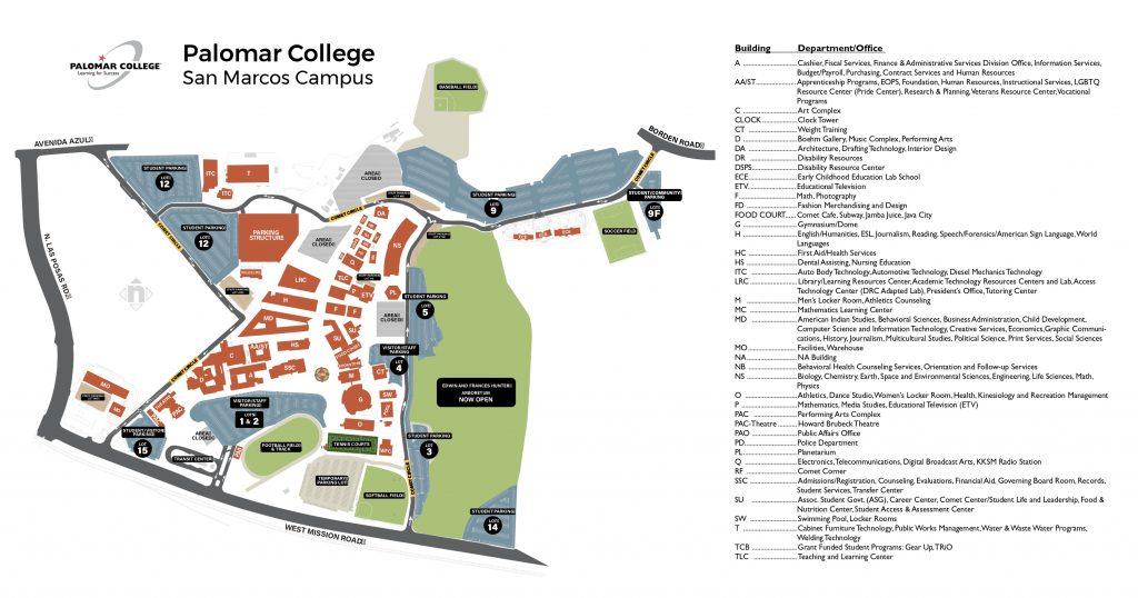 パルマーカレッジメインキャンパスマップ