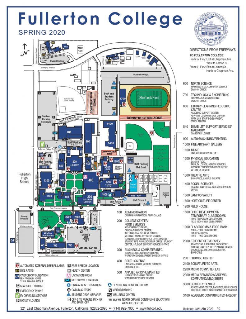 フラートンカレッジキャンパスマップ
