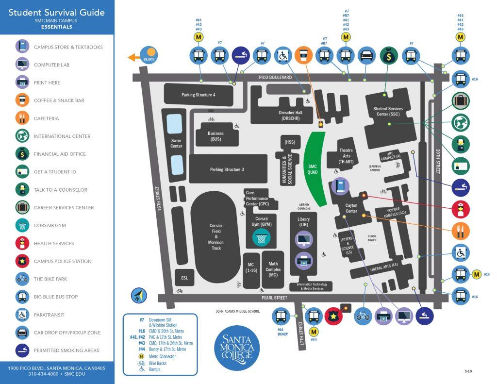 サンタモニカカレッジメインキャンパスマップ