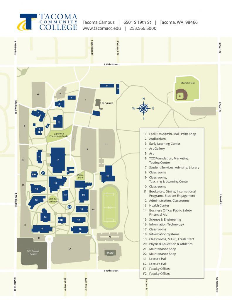 タコマカレッジキャンパスマップ