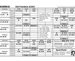2020年9月英会話スケジュール表